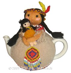 NOTE: You will receive the PATTERN to make your own toy NOT the finished toy! What a lovely tea cosy! What a beautiful Girl! Doll without feathers tall cm Max teapot contour cm The adorable mummy Indian Tea cosy wears a cutest knitted sand dress with Tea Cosy Knitting Pattern, Tea Cosy Pattern, Baby Tea, Teapot Cover, Knitted Tea Cosies, Art And Hobby, Tea Cozy, Tea Art, Knitting Patterns