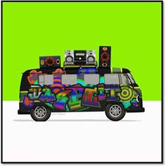 Funky Campervan with Hi Fi on Lime Green © Calamity Creations