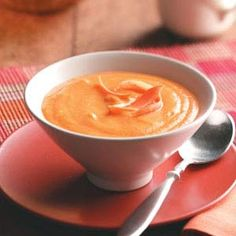 Vegetable Carrot Soup Recipe -This blended soup is loaded with vegetables, so it's delicious as well as good for you. Plus, its special golden color adds a special touch to your table.