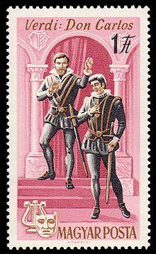 1967 Hungria - Escena de la Opera Don carlos de Verdi.Giuseppe Fortunino Francesco Verdi fue un compositor romántico italiano de ópera del siglo XIX, el más notable e influyente compositor de ópera italiana y puente entre el belcanto de Rossini, Donizetti y Bellini y la corriente del verismo y Puccini.