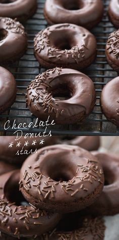 Baked chocolate donuts are easy to make at home with 9 everyday ingredients! These chocolate donuts are soft, rich, and covered in thick chocolate glaze. #chocolatedonuts #donuts