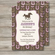 Horse Cowgirl Birthday Invitation with Editable Text by Punkyprep