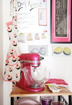 striefler striefler Rappaport studio apartment tour // white walls // pink KitchenAid mixer // pink girly kitchen // photo by Sarah Winchester Studios Dream Apartment, Apartment Kitchen, Studio Apartment, Apartment Living, Apartment Ideas, Decorate Apartment, Ux Design, Design Ideas, Interior Design
