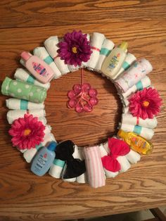 Items similar to Personalized Diaper Wreath on Etsy Baby Shower Flowers, Baby Shower Dresses, Baby Shower Fun, Baby Shower Cards, Baby Shower Invitations, Baby Shower Gifts, Baby Gifts, Baby Showers, Girl Baby Shower Decorations