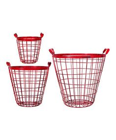 Look at this #zulilyfind! Home Essentials and Beyond Red Metal Basket Set by Home Essentials and Beyond #zulilyfinds