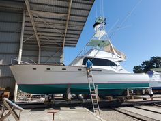 Repair, refit and maintenance for sportfishing boats from all builders. From repowers and overhauls to survey hauls and bottom painting, we do it all. Bottom Paint, Sport Fishing Boats, Wood Repair, Wood Boats, Palm Beach Gardens, Running Gear, New Construction, Tuna, Rv