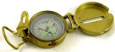 Liquid filled vintage Foldable LENSATIC COMPASS Gold-tone Military Hiking