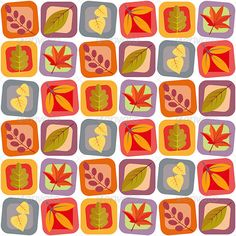 Autumn leaves seamless background pattern - Backgrounds Decorative