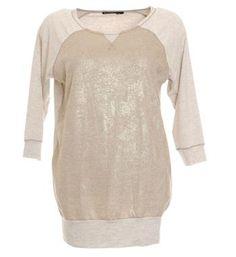 Summum t-shirt voorzien van een fijn gebreide voorzijde met metallic accenten - Zand - NummerZestien.eu