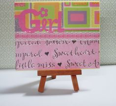 """Girly Card This card measures approximately 4.25"""" x 5.5"""" in size http://kinamileli.wix.com/pink-mermaid-"""