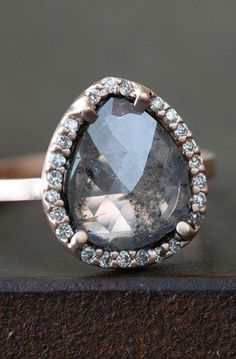 Charcoal Grey Rose-Cut diamond Ring with Pave Halo