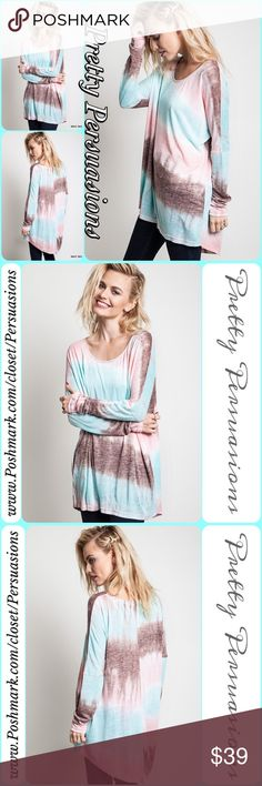 NWT Mint Tie Dyed Long Sleeve Relaxed Fit Top DESCRIPTION COMING SOON  NOW AVAILABLE  TRUE TO SIZE  Pretty Persuasions Tops Tees - Long Sleeve