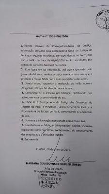 Encanto Caboclo: Meio Ambiente, Açaí e Farinha: Suspensão do Leilão...