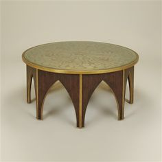 Cordoba Finished Cocktail Table, Champagne Eglomise Top, Silver Gilding, Brass Accents