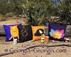 Lining up our design «ducks» for Autumn  Find even more cute Fall designs @ Georgia-Georgia.com  ……….   #Autumn #Fall #October #November #ThrowPillows #Mugs #CoffeeMugs #Javelina #Bats #Owls #Fox #FennecFox #Hedgehogs #Cats @Chickens #Golfballs #Purple #Orange