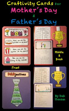 This file includes all of the materials needed for your students to create an unforgettable card for Mother's Day.... and it even includes the materials to create a Father's Day version as well!    http://www.teacherspayteachers.com/Product/Mothers-Day-Card-Craftivity-includes-a-Fathers-Day-card-file-too-1200681