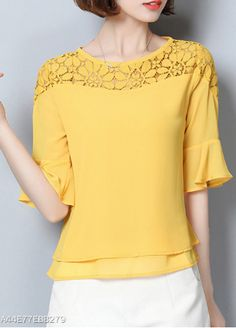 Round Neck Patchwork Lace Bell Sleeve T-shirt - shop. Bell Sleeve Blouse, Bell Sleeves, Cheap Womens Tops, Half Sleeve Dresses, Yellow Blouse, Navy Lace, Trendy Tops, Blouse Styles, Blouses For Women