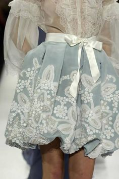 Sweet details look - white transparencies blouse and embroideries blue skirt