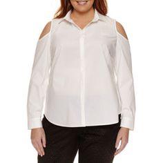 f519253d893dfb Buy Worthington® Long Sleeve Cold Shoulder Button Front Shirt - Plus