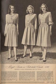 The Closet Historian: Cataloging Catalogs: Ward's Fall/Winter More Dresses! 1940s Fashion Women, Retro Fashion, Vintage Fashion, Club Fashion, Edwardian Fashion, 50 Fashion, Fashion Styles, Fashion Outfits, 1940s Dresses