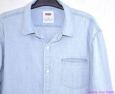Levis Mens Shirt Cotton Button Front Greg Denim Long Sleeve 3LDLW10171 Blue M   #Levis #ButtonFront