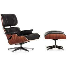 Vitra Eames Lounge Chair & Ottoman Santos Palisander (238 865 UAH) ❤ liked on Polyvore featuring home, furniture, black, black leather furniture, vitra furniture, black furniture, vitra and colored leather furniture