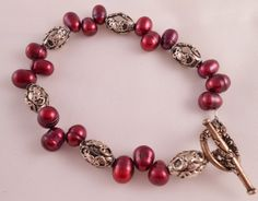 Pearl Bracelet Pink Bracelet Silver Bracelet by Rumis on Etsy, $20.00
