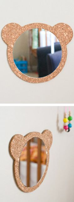 DIY Cork Bear Mirror - cute for a child's room