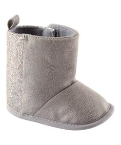 Another great find on #zulily! Gray Sparkle Booties - Infant #zulilyfinds