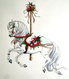 Alonso as a carousel horse finished in colored pencil. Still gonna try the sketch in CG but I did this for now. Try to find all the mice! I believe there are 6 of them. Christmas Horses, Christmas Animals, Christmas Art, Carosel Horse, Horse Illustration, Painted Pony, Horse Drawings, All The Pretty Horses, Equine Art