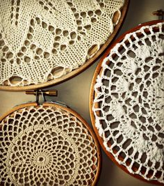 Vintage doily upcycled hoop art. Instant collection (3). Interior design item.
