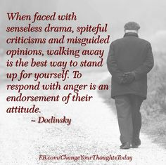 remember: senseless drama, spiteful criticisms, misguided opinions - walk away