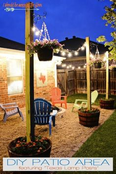 Create a backyard retreat like this with a patio area strung with lights in potted lamp posts. this idea and more back yard escapes on Frugal Coupon LIving.