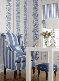 Margarelle by Jaima Brown Home. To purchase, visit your nearest Ring's End design and decor showroom! Striped Chair, Striped Walls, Interior And Exterior, Interior Design, Blue And White China, Blue China, White Cottage, Rose Cottage, Piece A Vivre