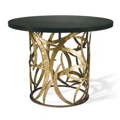 Porta Romana - CRT04, Miro Centre Table - French Brass with Dark Fumed Oak Top