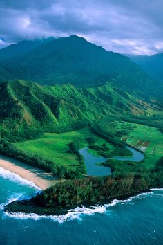 Aerial above Wainiha Bay, north shore of Kaua'i, Hawaii | Blaine Harrington