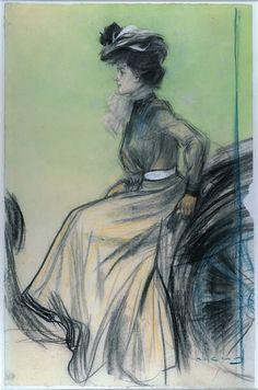 Ramon Casas (1866-1932), Chauffeuse. Carbó i pastel sobre paper, 63,5 x 41,5 cm, 1900.