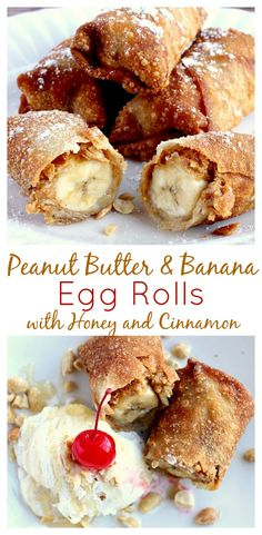 These Peanut Butter and Banana Egg Rolls may be far from traditional egg rolls but they are amazingly delicious! Filled with peanut butter, banana, cinnamon, and honey, they make a yummy dessert along with ice cream - yum! | www.DeliciousLittleBites.com
