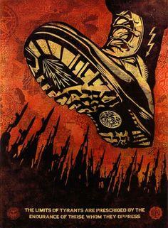 Tyrant boot 2008 Serigrafía sobre papel 61x46 cm Ed.147/450 Autor: Shepard Fairey 3 Punts Galeria #artecontemporaneo #art #contemporaryart