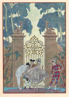 Les Fêtes Galantes de Paul Verlaine, illustrations de Georges Barbier, Piazza, 1928