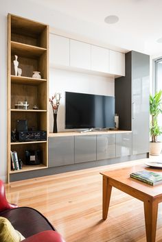 Thermo Formed doors and panels in Gloss Slate, Sandwoood and Satin Royal Oyster Built In Furniture, Dream Furniture, Roller Doors, Decorative Panels, Panel Doors, Oysters, Living Room Designs, Beautiful Homes, Tv Units