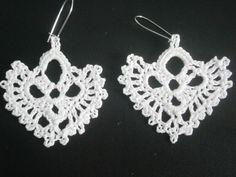 Heart Earrings, Handmade Crochet