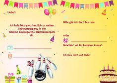 einladung kindergeburtstag bowling (kegeln): kostenlose vorlagen, Einladungen