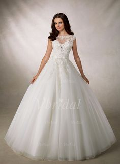 Wedding Dresses - $268.82 - Ball-Gown Scoop Neck Court Train Organza Tulle Wedding Dress With Beading Appliques Lace (0025098267)