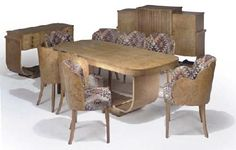 EPSTEIN: cloud back dining suite in walnut