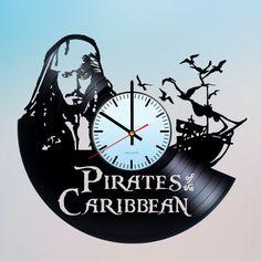 Pirates Of The Caribbean Handmade Vinyl Record Wall Clock Fan Gift - VINYL CLOCKS