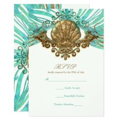 #wedding #responsecards - #Gold & Teal Sea Shell Glam Beach Elegant RSVP Card