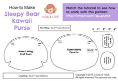 Cute sleepy bear purse - sewing tutorial by   2 Cats & 1 Doll   Tutorial is available here:  https://www.youtube.com/watch?v=PNOSKytI3oo