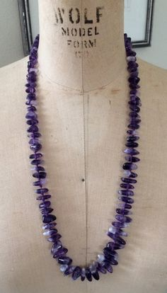 Vintage Genuine Amethyst Beaded Necklace by newgenerationvintage, $48.99