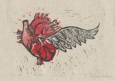 'As the heart flies' 2 color linocut work was also featured on the RB homepage.